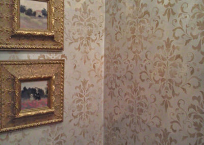 Damask Stencil over Plaster