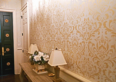 Pale Gold Damask Stencil