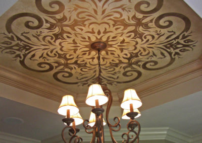 Sylvia T Designs - A custom designed stencil on a residential ceiling in New Orleans.