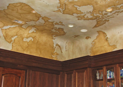 Sylvia T Designs - Hand-painted Old World map on canvas applied to the ceiling in a California residence.