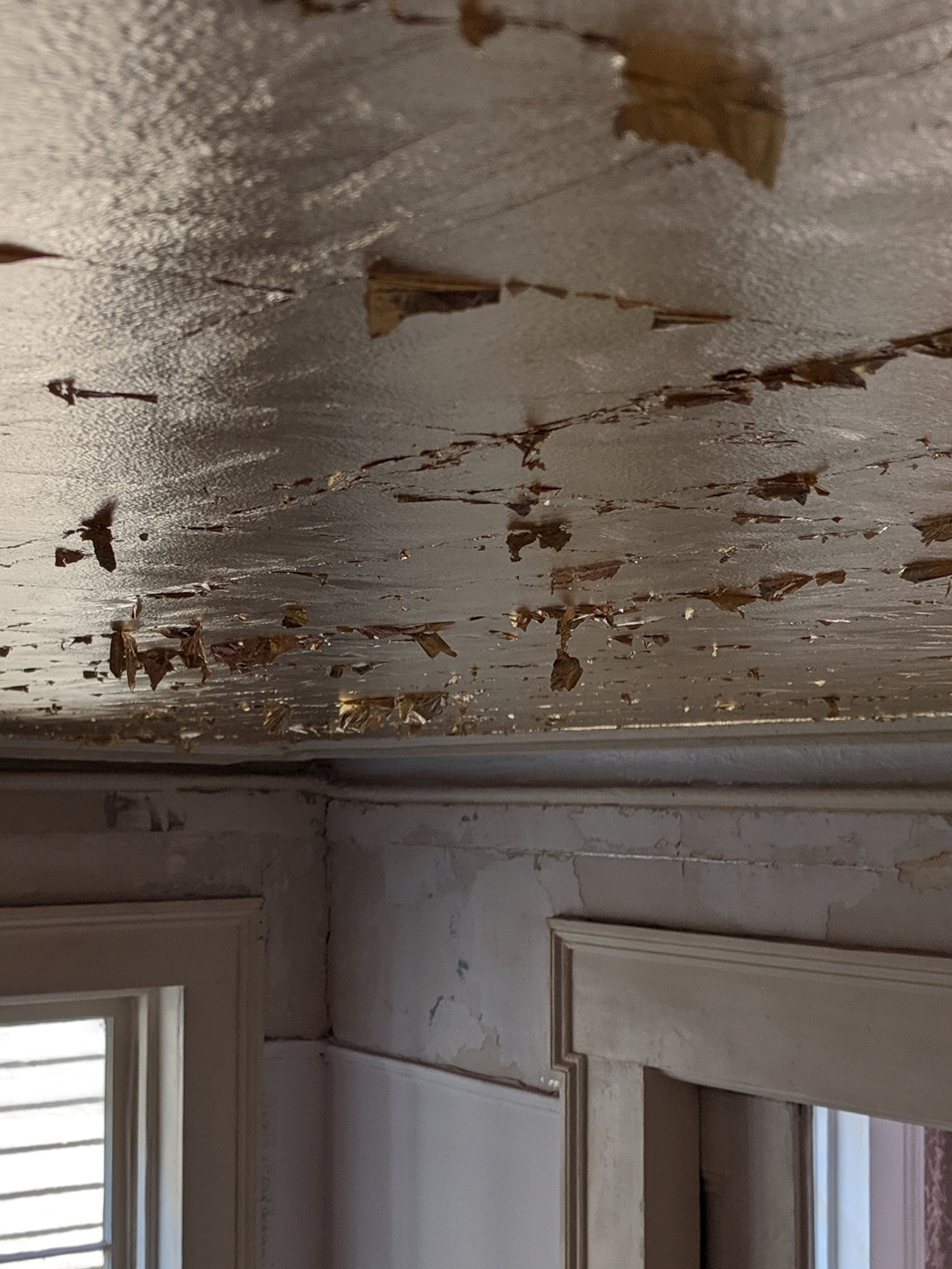 Sylvia T Designs – French Quarter Creole Cottage – Dramatic Plaster Finishes and Gold Leaf Ceilings – Gold leaf ceilings in progress.