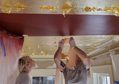 Sylvia T Designs – French Quarter Creole Cottage – Dramatic Plaster Finishes and Gold Leaf Ceilings – Gold leaf ceilings are beautiful! They take skill, patience, and an abundance of hard work.